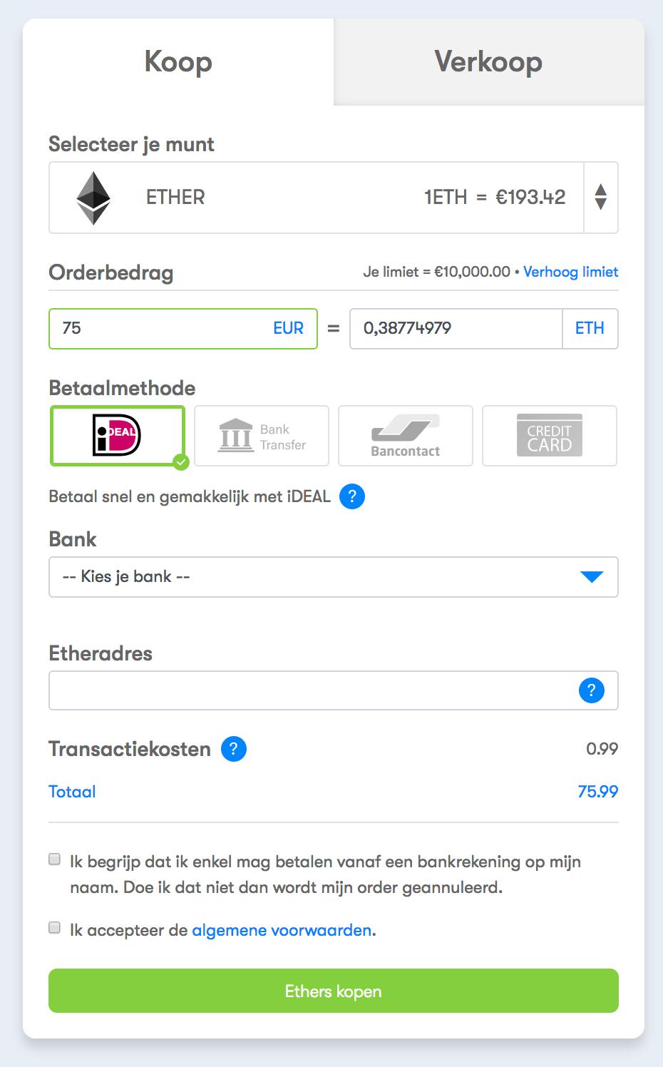 Het aankoopproces voor het kopen van Ethereum