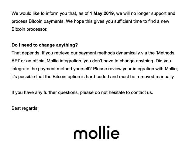 Bitcoinbetalingen via Mollie