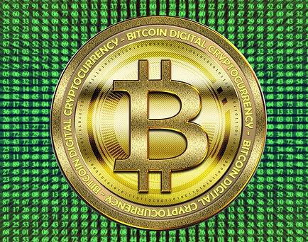 bitcoin munt groene achtergrond