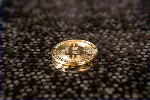 bitcoin op hex achtergrond