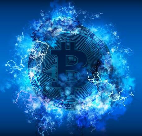 munt bitcoin blauwe wolken