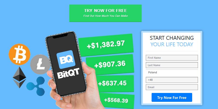 Homepagina van BitQT