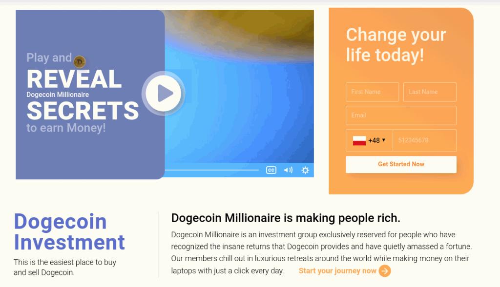 dogecoin millionaire main page
